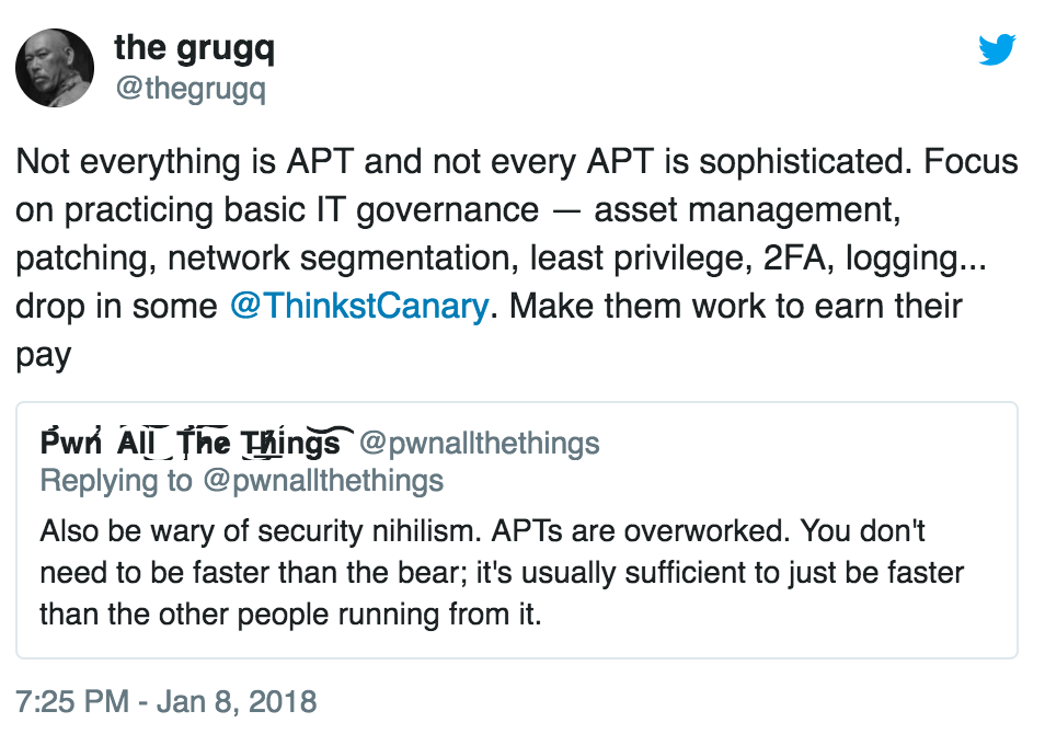 Tweet by the grugq