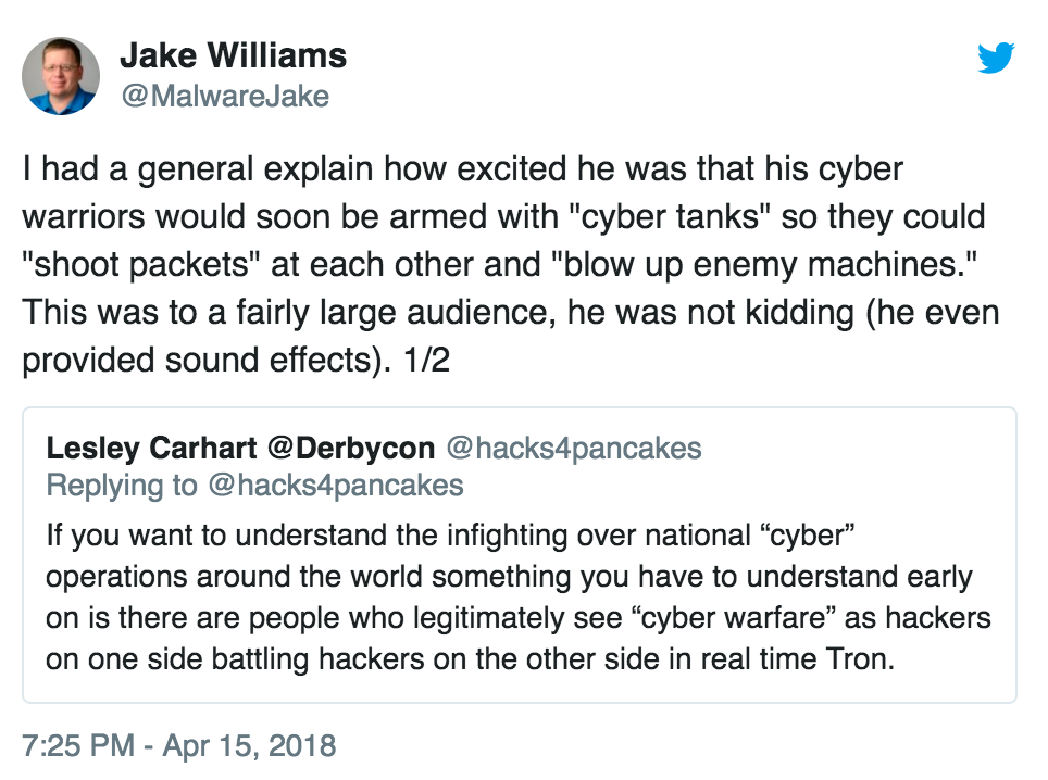 Tweet by Jake Williams